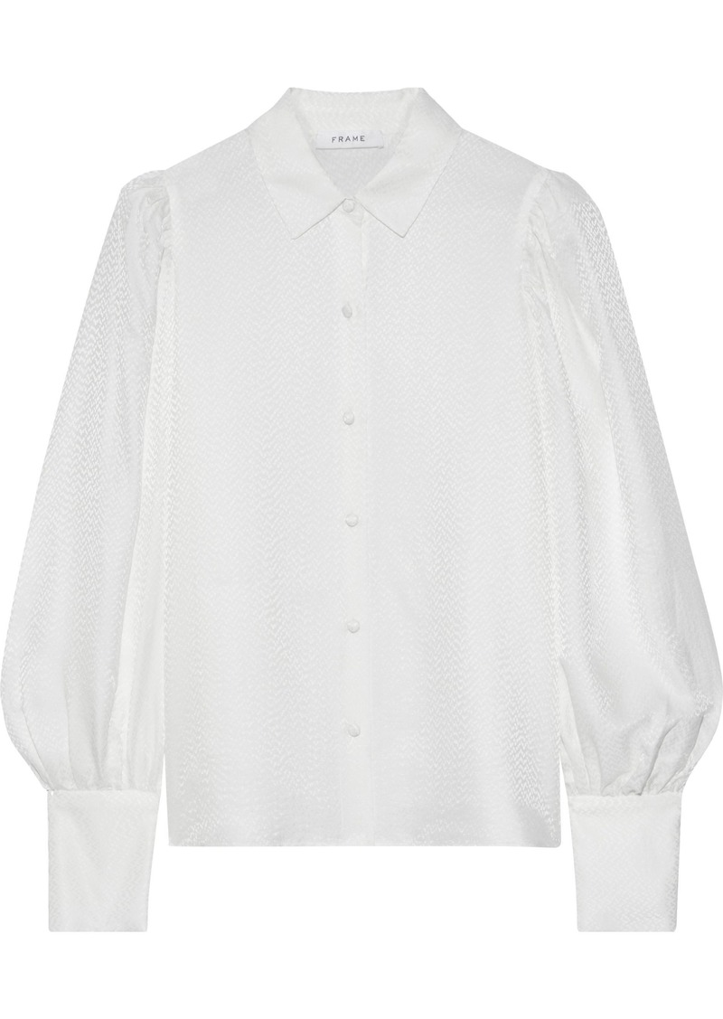 Frame Woman Satin-jacquard Shirt Off-white