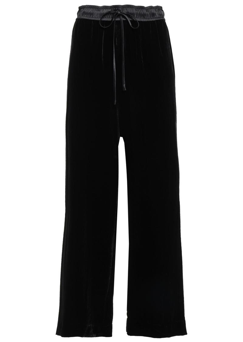 Frame Woman Satin-trimmed Velvet Wide-leg Pants Black