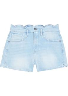 Frame Woman Scalloped Faded Denim Shorts Light Denim