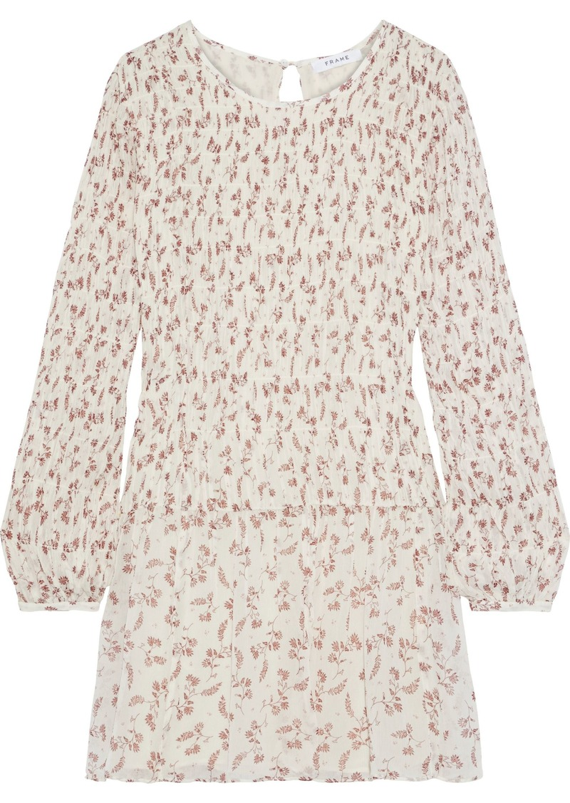 Frame Woman Shirred Floral-print Georgette Mini Dress Off-white