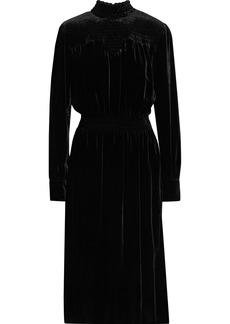Frame Woman Shirred Velvet Dress Black