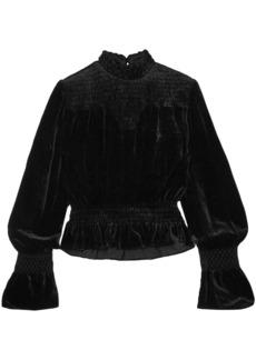 Frame Woman Shirred Velvet Turtleneck Top Black