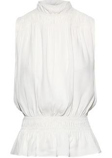 Frame Woman Shirred Washed-crepe Peplum Blouse Ivory