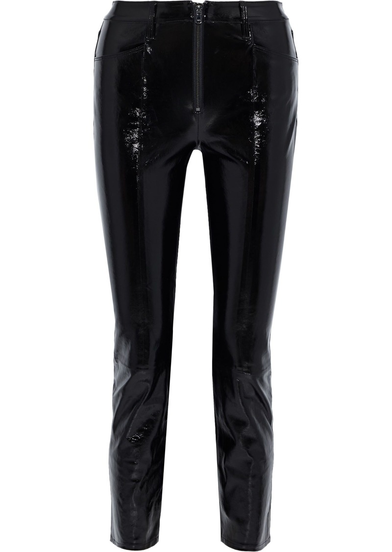 Frame Woman Slick Textured Patent-leather Slim-leg Pants Black