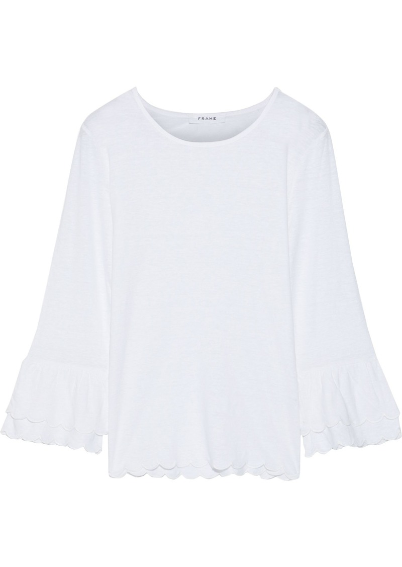 Frame Woman Slub Linen-jersey Top White