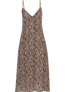 Frame Woman Snake-print Silk Crepe De Chine Midi Slip Dress Animal Print