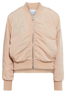 Frame Woman Snap-detailed Ruched Shell Bomber Jacket Blush
