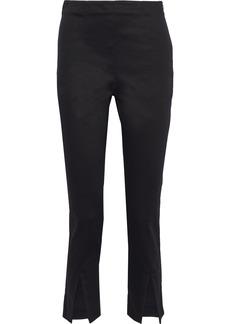 Frame Woman Split-front Cotton-blend Slim-leg Pants Black
