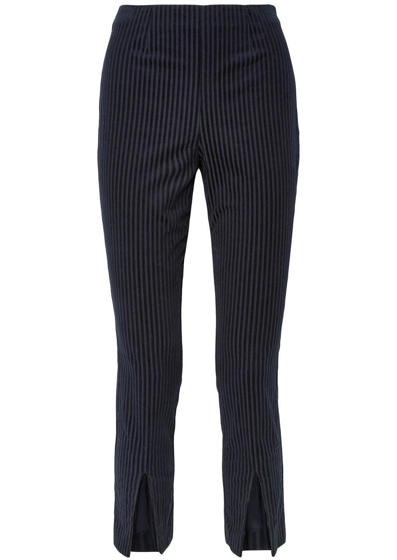 Frame Woman Split-front Striped Stretch-cotton Corduroy Slim-leg Pants Navy