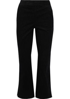 Frame Woman Striped Cotton-blend Bootcut Pants Black