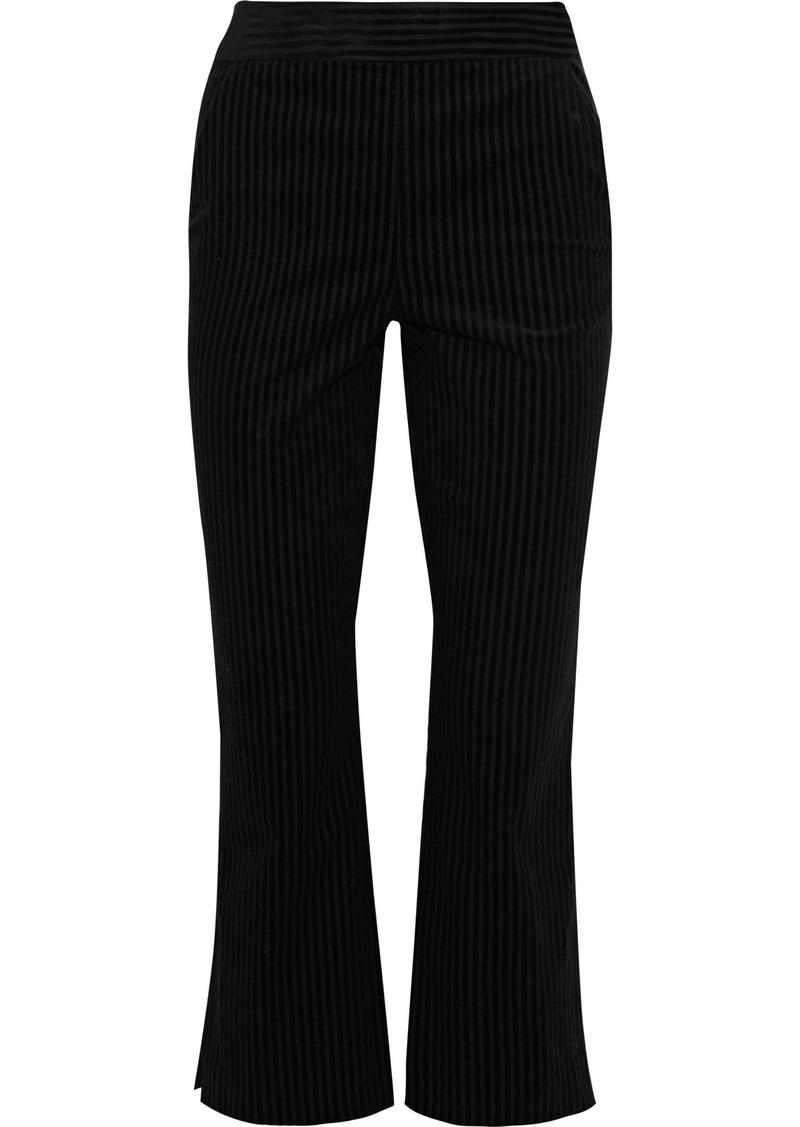 Frame Woman Striped Cotton-blend Bootcut Pants Black