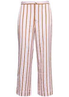 Frame Woman Striped Jacquard Wide-leg Pants Baby Pink