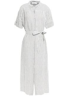 Frame Woman Striped Linen And Cotton-blend Midi Dress Off-white