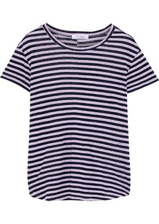 Frame Woman Striped Linen-jersey T-shirt Lavender