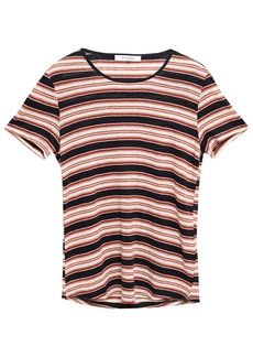 Frame Woman Striped Linen-jersey T-shirt Tomato Red