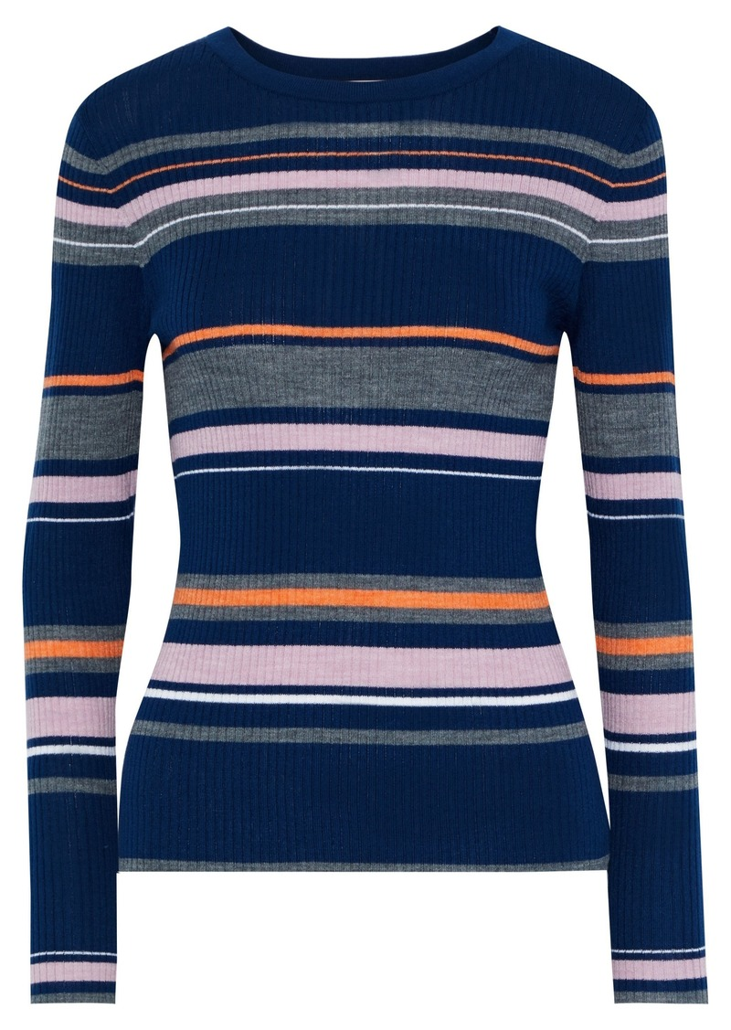 Frame Woman Striped Ribbed-knit Sweater Navy