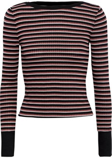 Frame Woman Striped Ribbed-knit Top Black