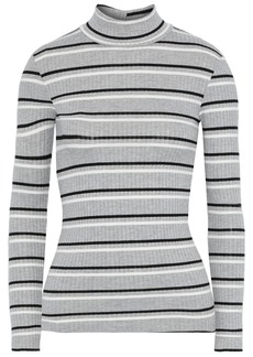 Frame Woman Striped Ribbed-knit Turtleneck Sweater Gray
