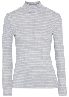 Frame Woman Striped Ribbed-knit Turtleneck Sweater Light Gray