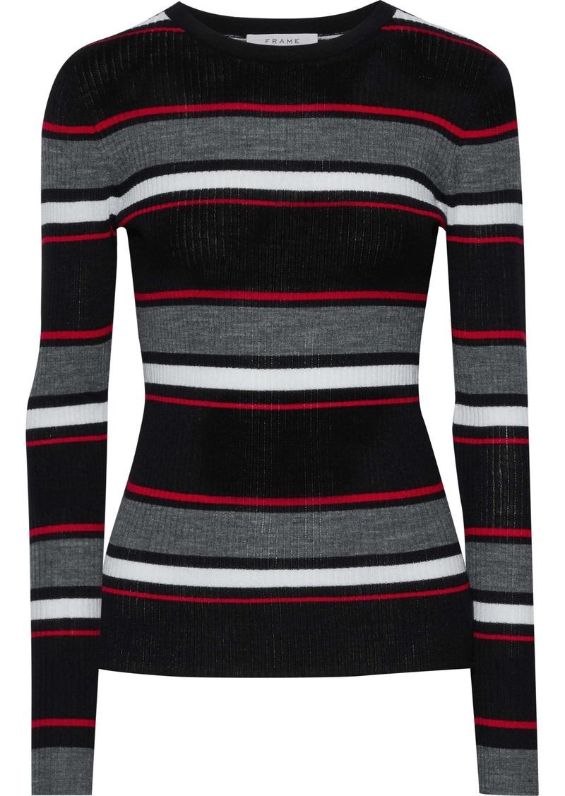 Frame Woman Striped Ribbed Merino Wool-blend Sweater Black