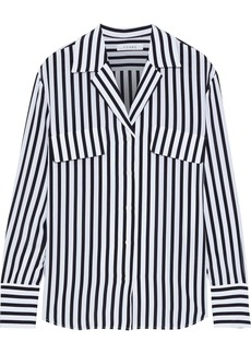 Frame Woman Striped Silk Crepe De Chine Shirt Black