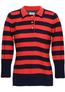 Frame Woman Striped Wool And Cashmere-blend Polo Shirt Navy
