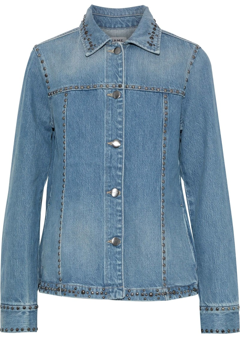 Frame Woman Studded Denim Jacket Mid Denim