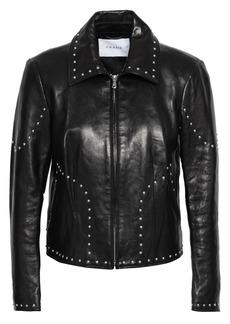 Frame Woman Studded Leather Jacket Black