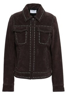Frame Woman Studded Suede Jacket Chocolate