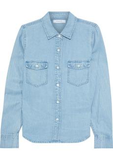 Frame Woman Tencel And Linen-blend Chambray Shirt Light Blue