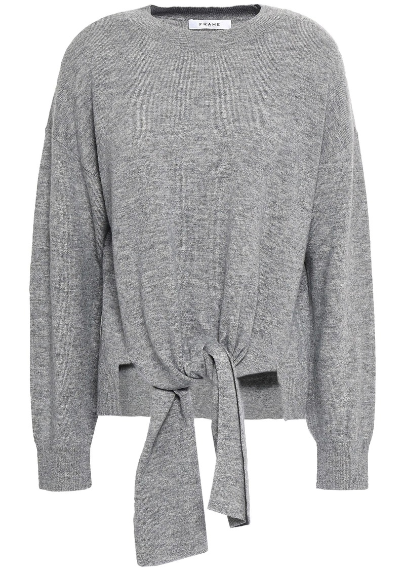 Frame Woman Tie-front Mélange Wool And Cashmere-blend Sweater Gray