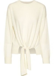Frame Woman Tie-front Mélange Wool And Cashmere-blend Sweater Off-white