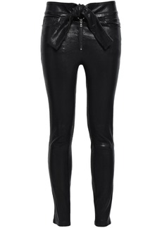 Frame Woman Tie-front Stretch-leather Skinny Pants Black