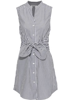 Frame Woman Tie-front Striped Cotton-poplin Mini Dress White