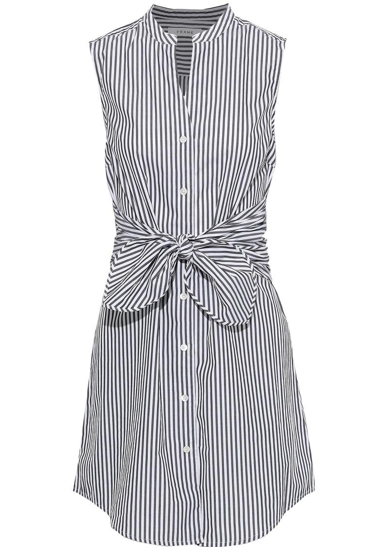 Frame Woman Tie-front Striped Cotton-poplin Mini Dress White
