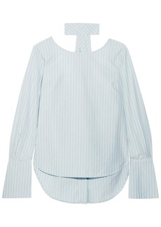 Frame Woman Tie-neck Striped Cotton-poplin Blouse Sky Blue