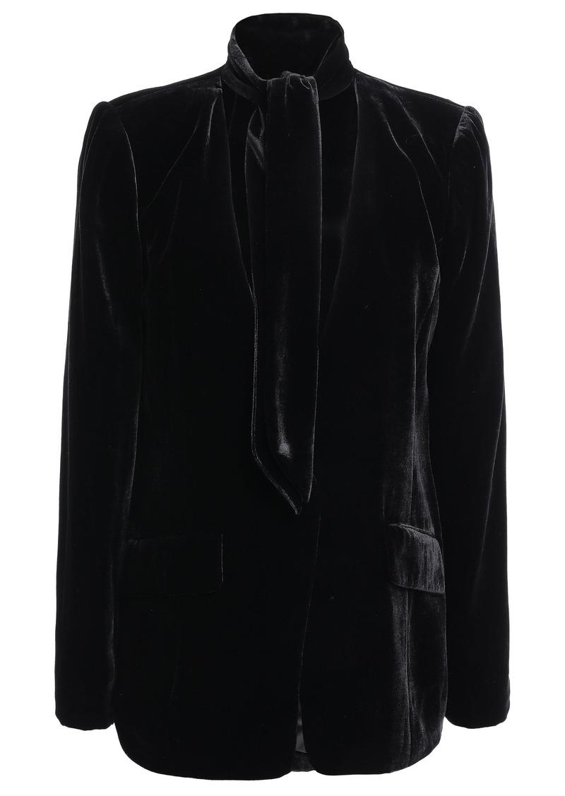 Frame Woman Tie-neck Velvet Blazer Black