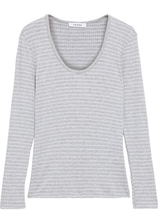 Frame Woman U Neck Striped Ribbed Jersey Top Light Gray