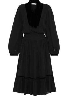 Frame Woman Velvet-trimmed Polka-dot Silk-georgette Dress Black