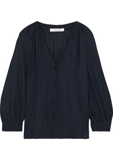 Frame Woman Washed-silk Blouse Navy
