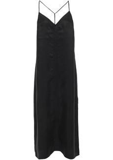 Frame Woman Embroidered Satin Midi Slip Dress Black