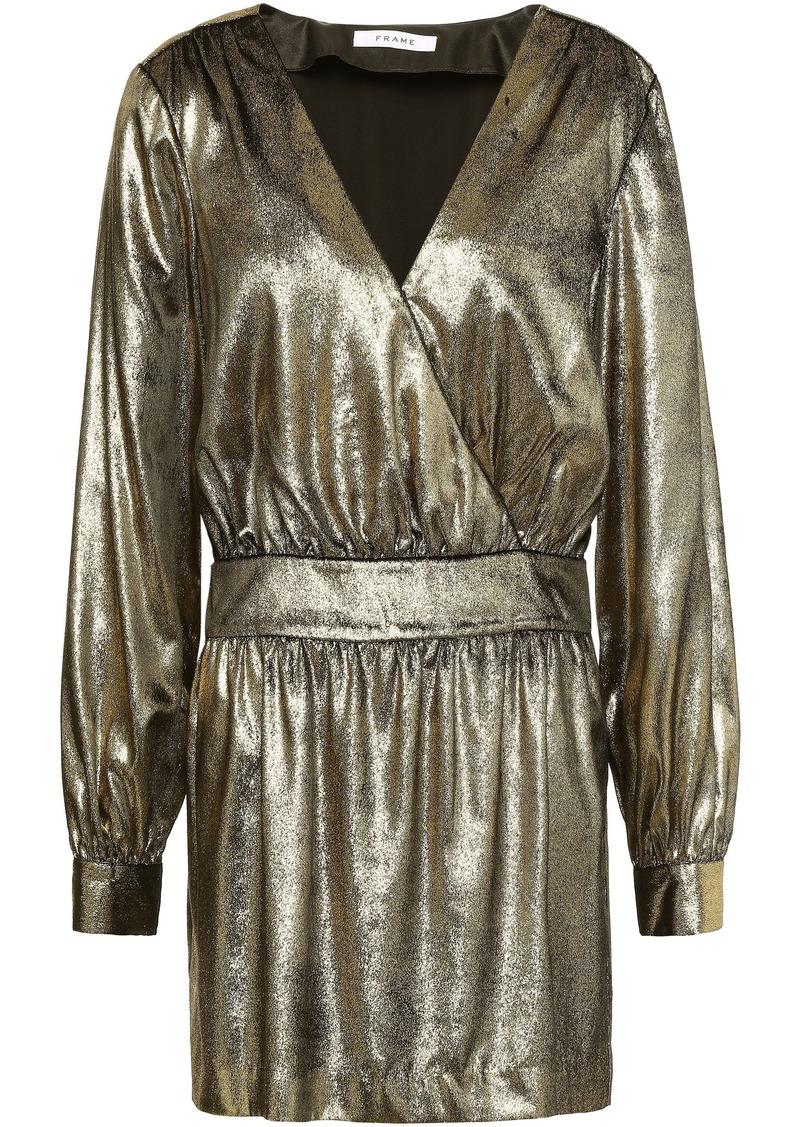 Frame Woman Wrap-effect Gathered Metallic Velvet Mini Dress Gold