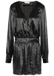 Frame Woman Wrap-effect Metallic Velvet Mini Dress Black