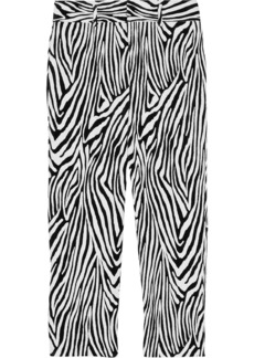 Frame Woman Zebra Tux Cropped Printed Cotton-blend Velvet Slim-leg Pants Black