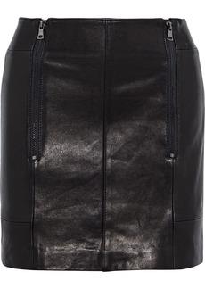 Frame Woman Zip-detailed Leather Mini Skirt Black
