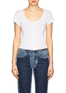 FRAME Women's Cotton Button-Front T-Shirt