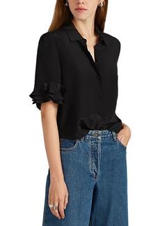 FRAME Women's Ruffled Silk Crepe Top