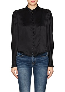 FRAME Women's Silk Charmeuse Victorian Blouse