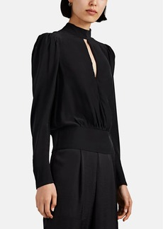 FRAME Women's Silk Satin Keyhole Blouse