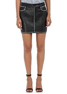 FRAME Women's Studded Leather Miniskirt